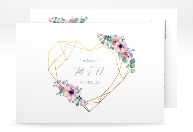 """Verlobungskarte Hochzeit """"Herzgold"""" A6 Postkarte weiss"""