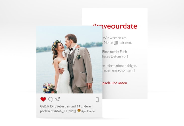"Save the Date-Visitenkarte ""Posting"" Visitenkarte weiss"