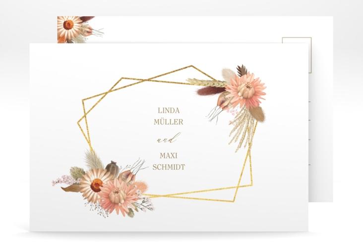 "Save the Date-Postkarte ""Strohblume"" A6 Postkarte weiss"