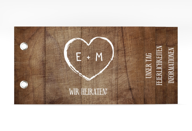 """Hochzeitseinladung """"Wood"""" Booklet"""