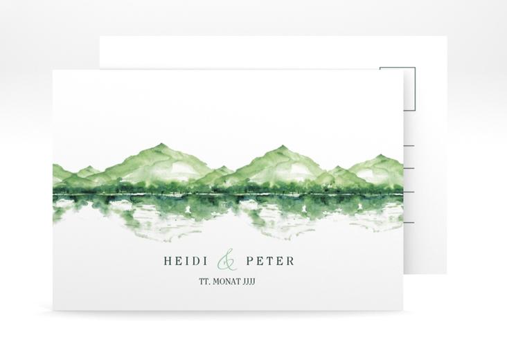 "Verlobungskarte Hochzeit ""Bergliebe"" A6 Postkarte gruen"