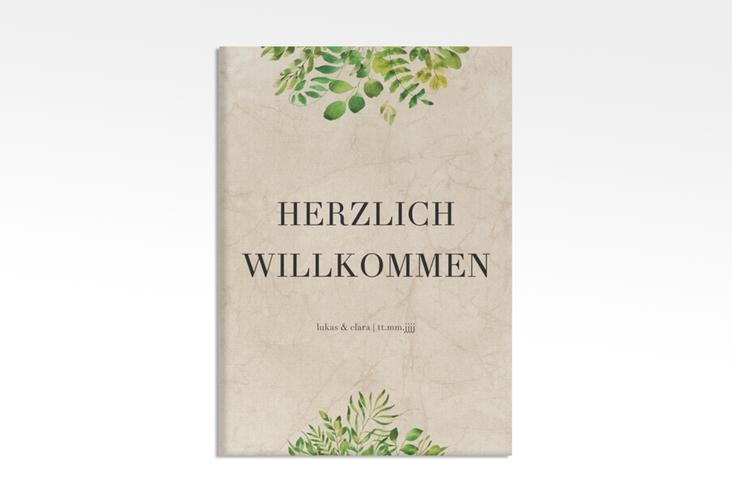 "Willkommensschild Leinwand ""Botany"" 50 x 70 cm Leinwand beige"