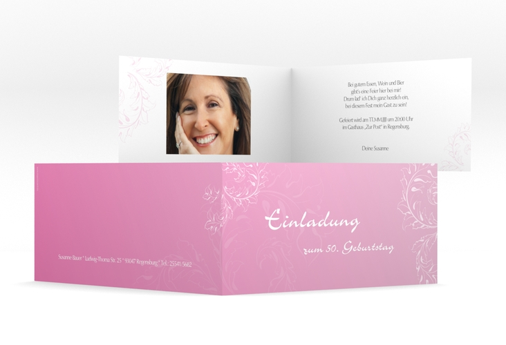 "Einladungskarte ""Peter/Petra"" DIN lang Klappkarte rosa"