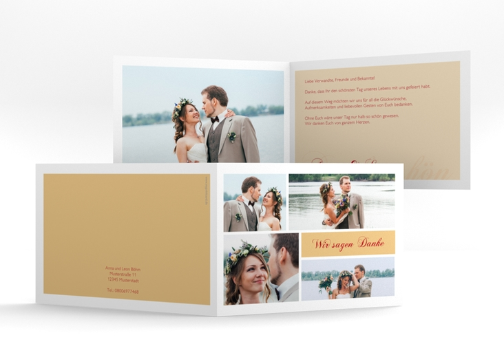 """Danksagungskarte Hochzeit """"Collage"""" A6 Klappkarte Quer apricot"""