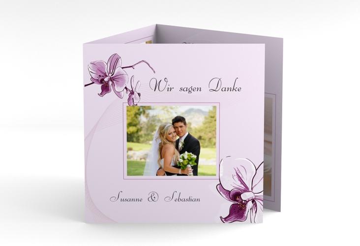 """Dankeskarte Hochzeit """"Modena"""" Quadr. Karte doppelt lila"""