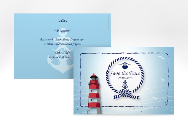 "Save the Date-Karte Hochzeit ""Sylt"" A6 quer blau"