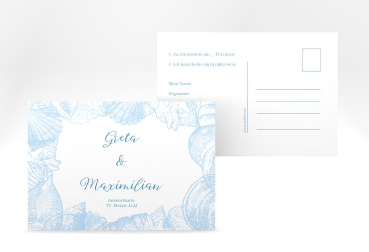 """Antwortkarte Hochzeit """"Muschelreich"""" A6 Postkarte"""