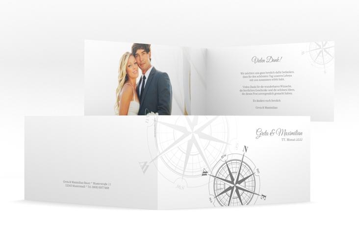 "Danksagung Hochzeit  ""Windrose"" DIN lang Klappkarte grau"