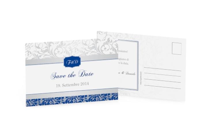 Biglietti Save the Date collezione Latina A6 Postkarte blu