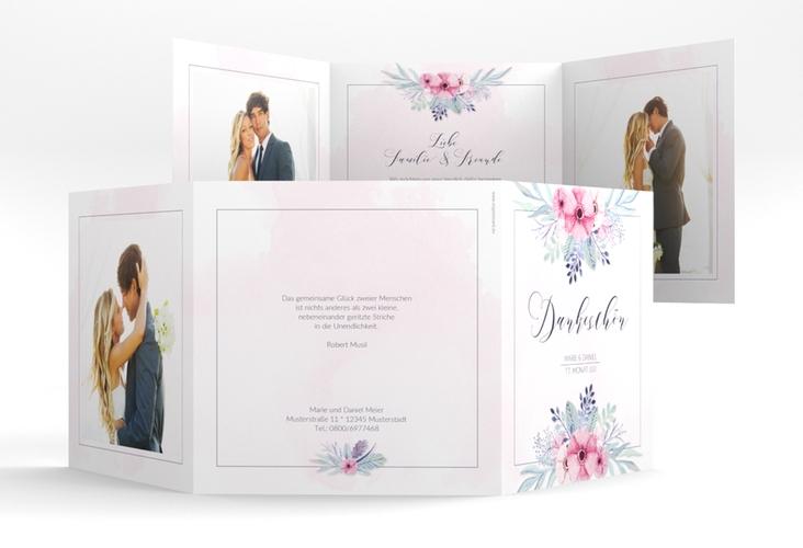 "Dankeskarte Hochzeit ""Surfinia"" Quadr. Karte doppelt rosa"