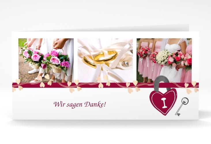 """Danksagungskarte Hochzeit """"Oviedo"""" DIN lang Klappkarte pink"""