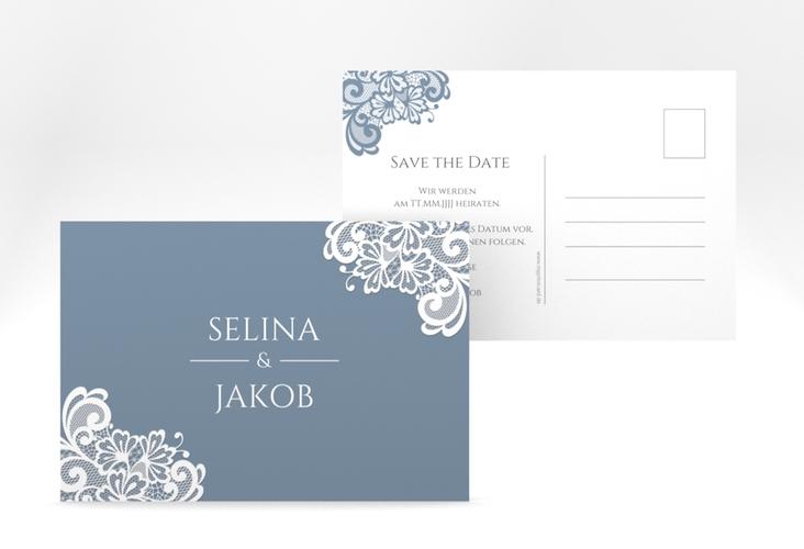 "Save the Date-Postkarte ""Vintage"" A6 Postkarte blau"