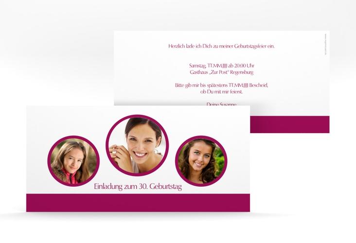 """Einladungskarte """"Anton/Antonia"""" DIN lang brombeer"""