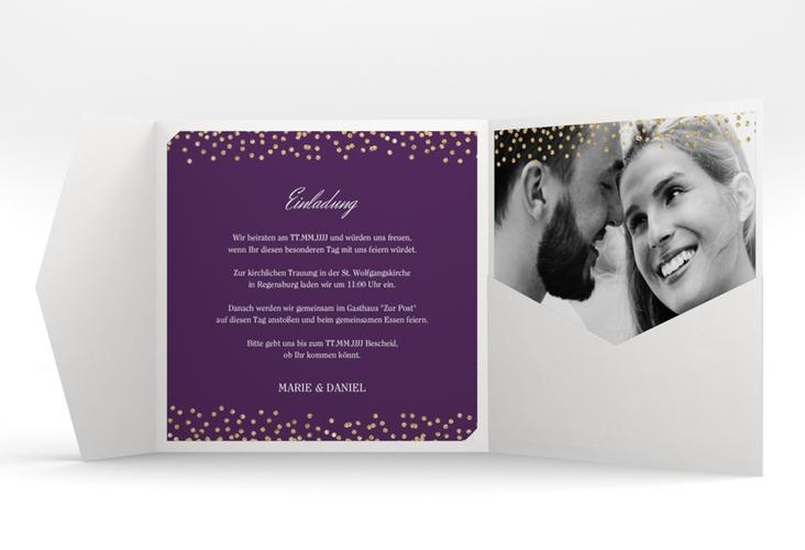 """Hochzeitseinladung """"Glitter"""" Pocketfold lila"""