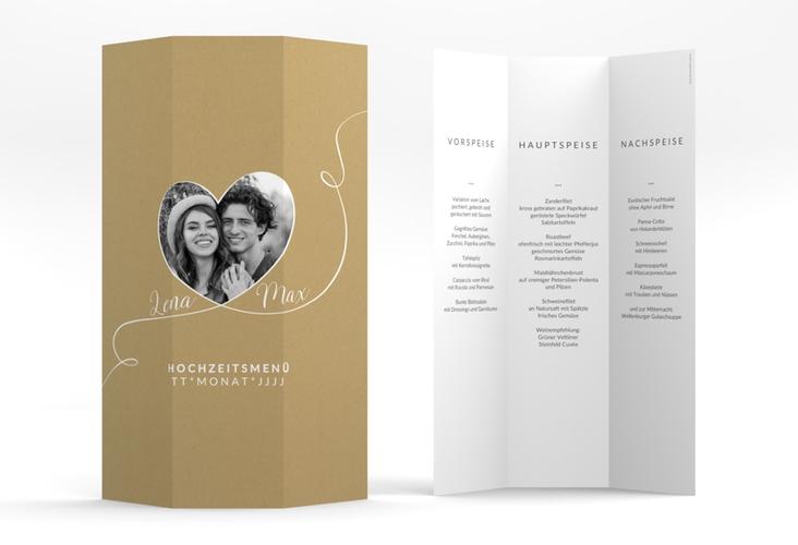 """Menükarte Hochzeit """"Herzensbund"""" DIN A4 Wickelfalz weiss"""