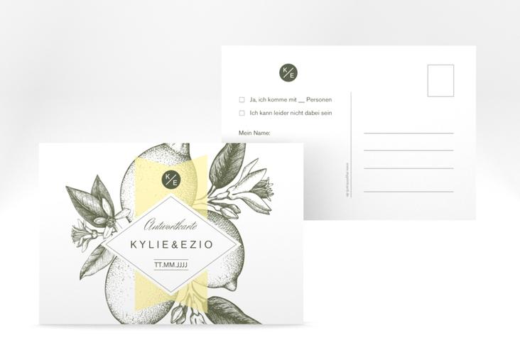 "Antwortkarte Hochzeit ""Lemon"" A6 Postkarte"