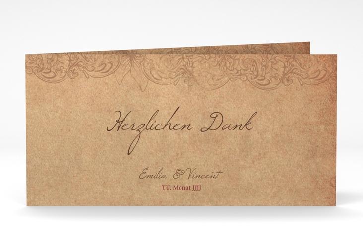 """Dankeskarte Hochzeit """"Fairytale"""" DIN lang Klappkarte braun"""