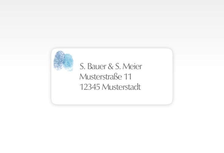 """Absenderetikett Hochzeit """"Messina"""" 45,7 x 21,2 mm blau"""