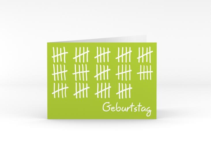 """Einladungskarte """"Strichliste"""" A6 Klappkarte Quer gruen"""