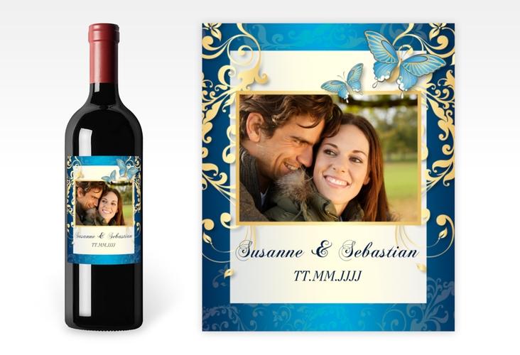 """Weinflaschenetikett Hochzeit """"Toulouse"""" Etikett Weinflasche 4er Set blau"""