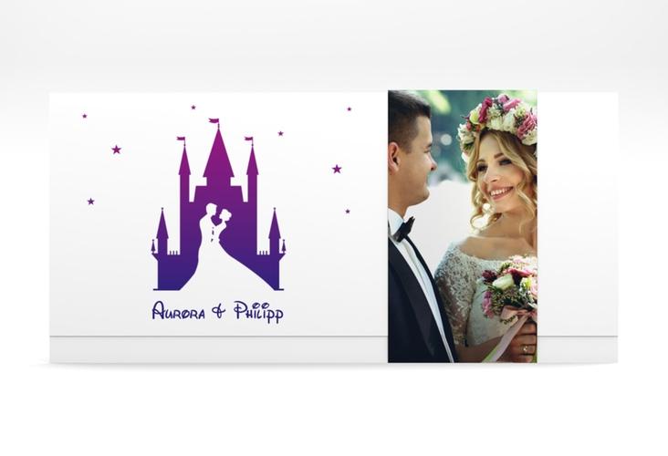 "Hochzeitseinladung ""Castle"" DIN lang Wickelfalz lila"