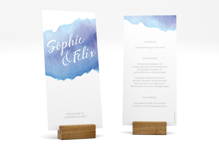 "Menükarte Hochzeit ""Aquarella"" DIN lang hoch blau"