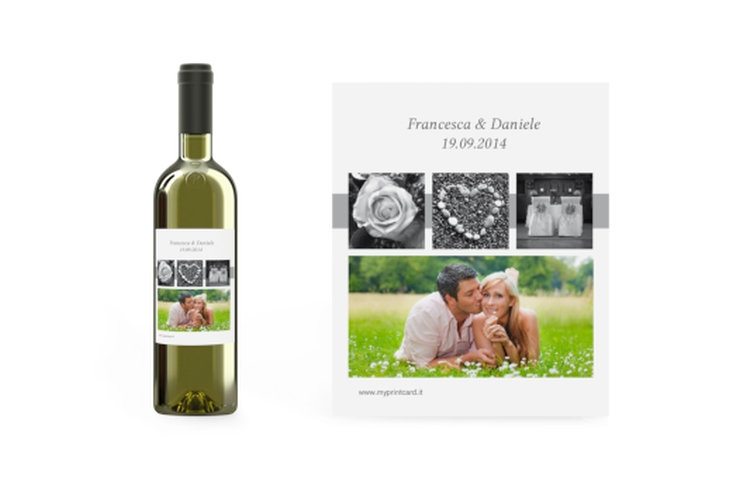 Etichette vino matrimonio collezione Marseille Etikett Weinflasche 4er Set