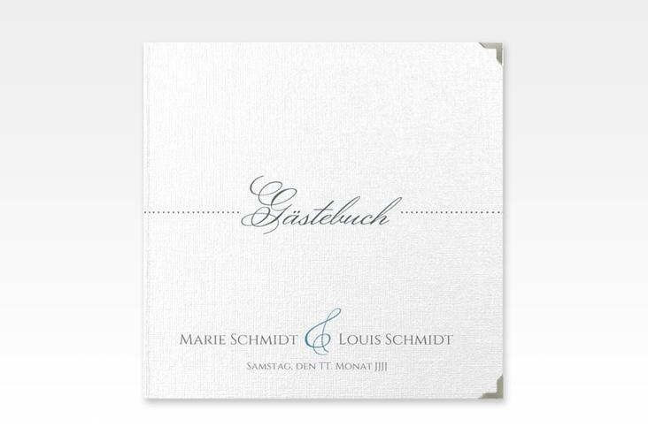 """Gästebuch Selection Hochzeit """"Pure"""" Leinen-Hardcover blau"""