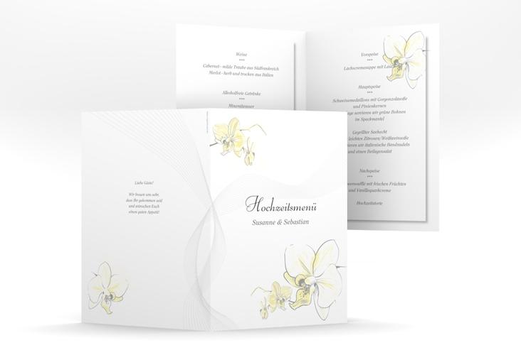 """Menükarte Hochzeit """"Modena"""" DIN A5 geklappt gelb"""