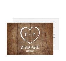 """Antwortkarte Hochzeit """"Wood"""""""