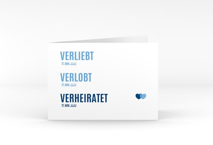 "Danksagungskarte Hochzeit ""Couple"" A6 Klappkarte Quer blau"