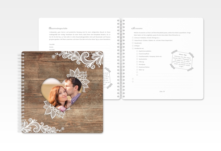 """Trautagebuch Hochzeit """"Spitze"""" Trautagebuch Hochzeit braun"""
