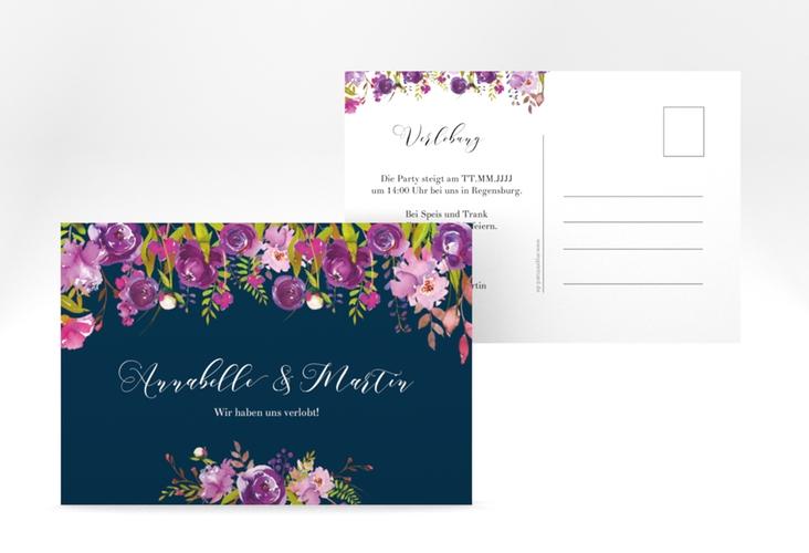 "Verlobungskarte Hochzeit ""Violett"" A6 Postkarte blau"