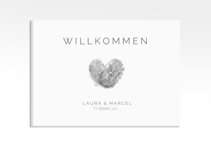 "Willkommensschild Leinwand ""Fingerprint"" 70 x 50 cm Leinwand schwarz"