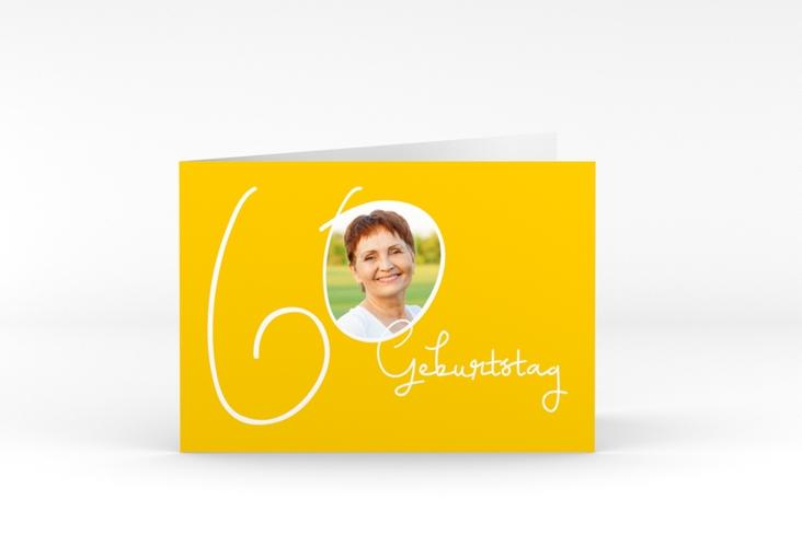 """Einladungskarte """"Swing"""" A6 Klappkarte Quer gelb"""
