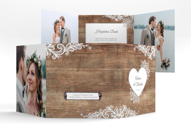 "Dankeskarte Hochzeit ""Spitze"" Quadr. Karte doppelt"