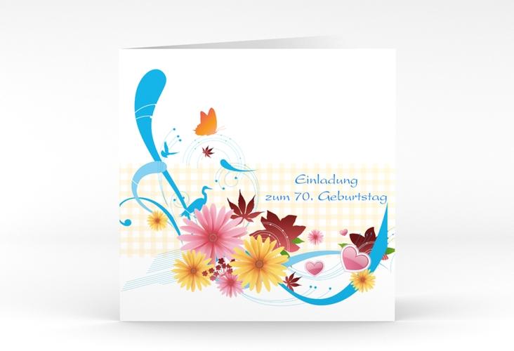 """Einladungskarte """"Elisabeth"""" Quadratische Klappkarte blau"""