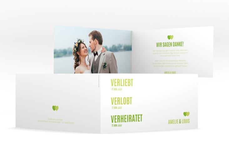 """Danksagung Hochzeit """"Couple"""" DIN lang Klappkarte gruen"""
