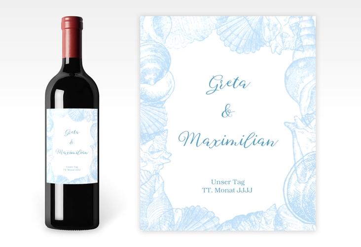 """Weinetikett zur Hochzeit """"Muschelreich"""" Etikett Weinflasche 4er Set blau"""