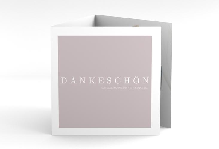 """Dankeskarte Hochzeit """"Simply"""" Quadr. Karte doppelt grau"""