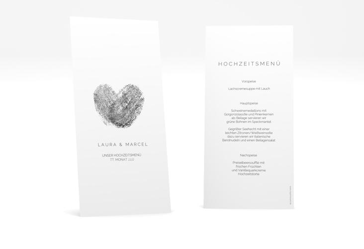 """Menükarte Hochzeit """"Fingerprint"""" DIN lang hoch schwarz"""