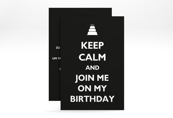"""Einladungskarte """"KeepCalm"""" A6 hoch schwarz"""