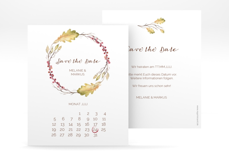"Save the Date-Kalenderblatt ""Herbsthochzeit"" Kalenderblatt-Karte"