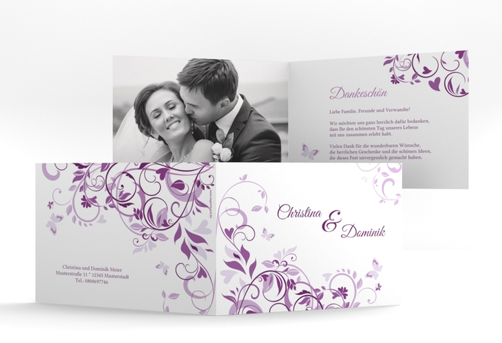 """Danksagungskarte Hochzeit """"Lilly"""" A6 Klappkarte Quer lila"""
