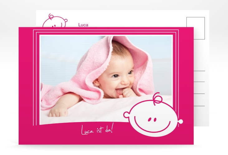 Geburtskarte Smiley A6 Postkarte pink