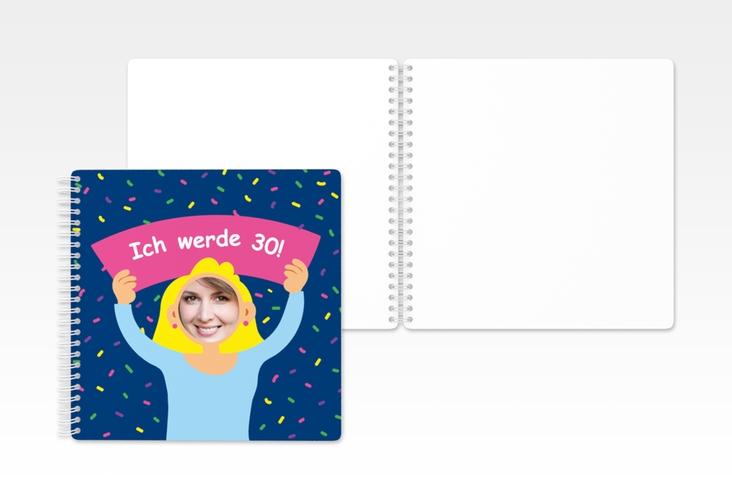 "Gästebuch Geburtstag ""Comic Woman"" Ringbindung blau"