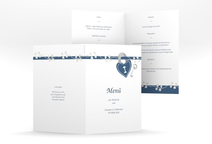 """Menükarte Hochzeit """"Oviedo"""" DIN A5 geklappt blau"""