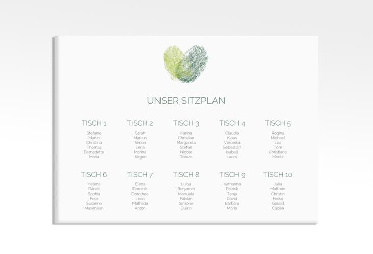 "Sitzplan Leinwand Hochzeit ""Fingerprint"" 70 x 50 cm Leinwand gruen"