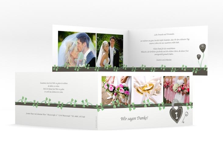 """Danksagungskarte Hochzeit """"Oviedo"""" DIN lang Klappkarte gruen"""