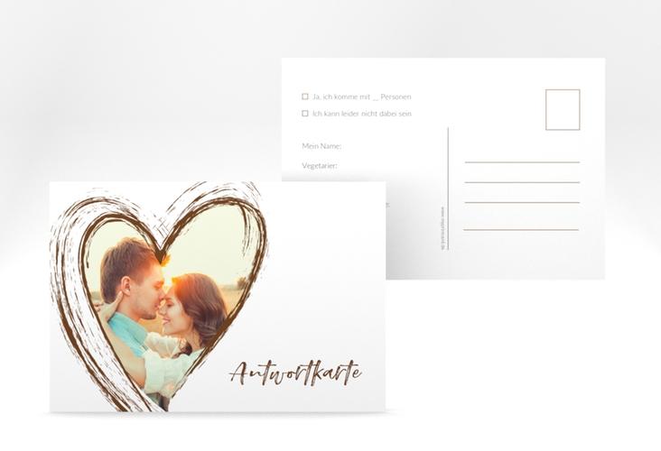 """Antwortkarte Hochzeit """"Liebe"""" A6 Postkarte braun"""